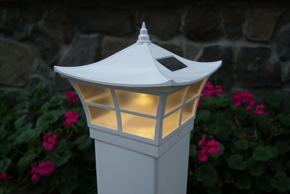 5x5 4x4 white ambience style pvc solar post cap led deck fence