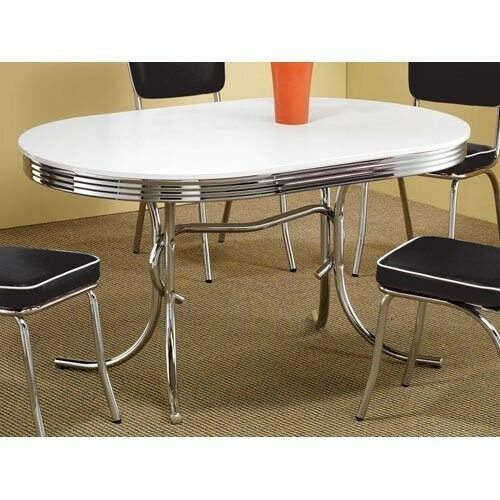 oval diner dining table retro mid century 50s style