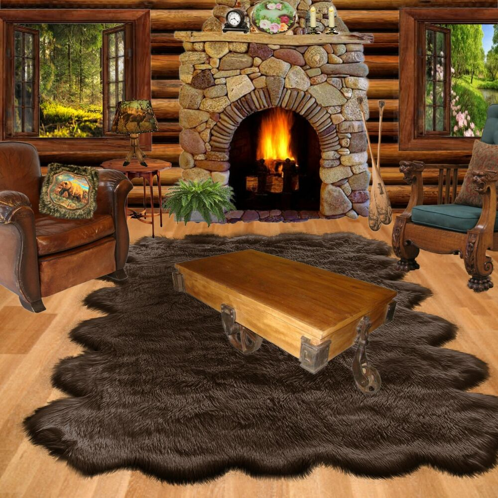 FUR ACCENTS Black Shag Faux Sheepskin Bear Skin Area Rug ...