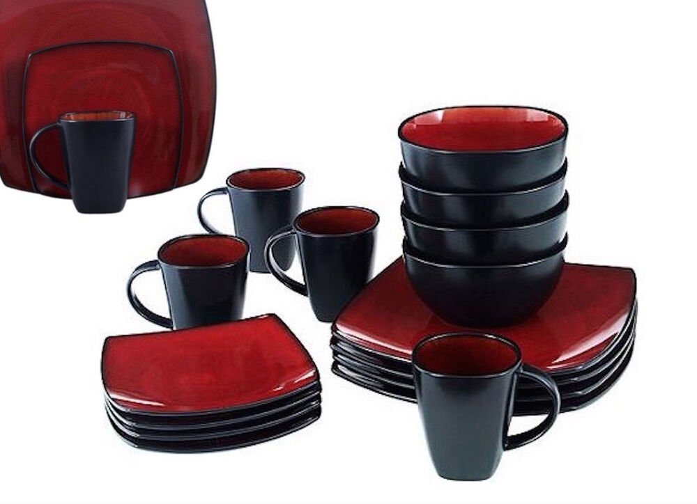 red square dish set dinnerware dining plates dishes mugs. Black Bedroom Furniture Sets. Home Design Ideas
