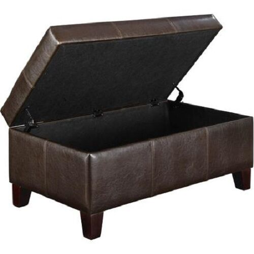 Solid Wood And Leather Small Storage Ottoman Entryway Bench Espresso Rectangular Ebay