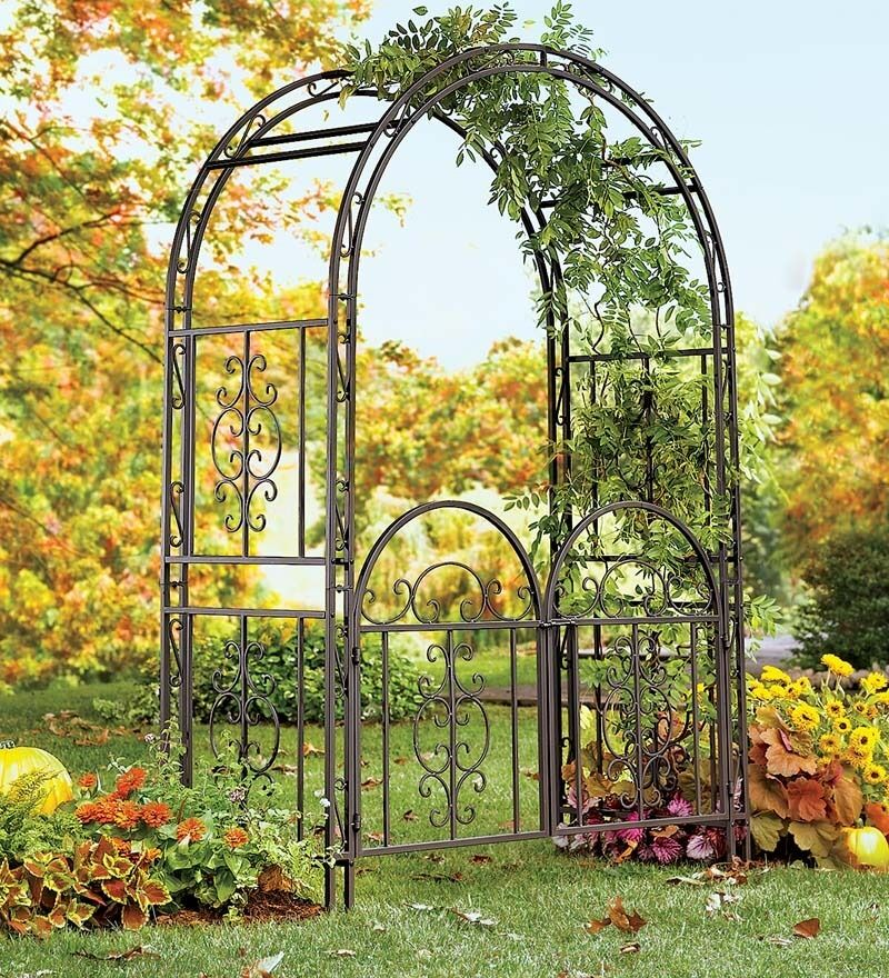 large garden arbor iron patio archway w optional gate wedding arch trellis 7ft ebay