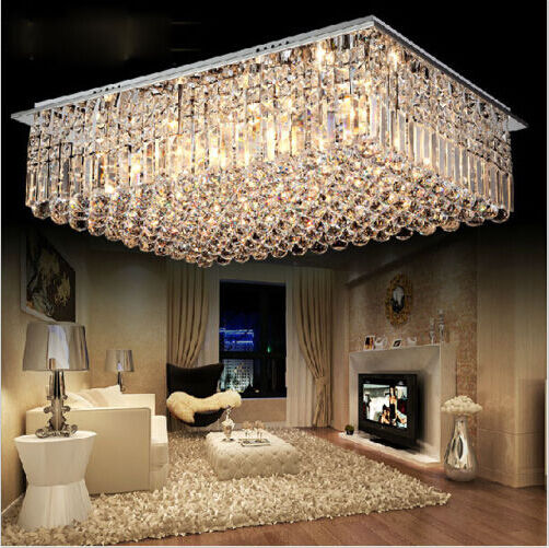 Simple Modern Rectangular Crystal Lamps Ceiling Lamps