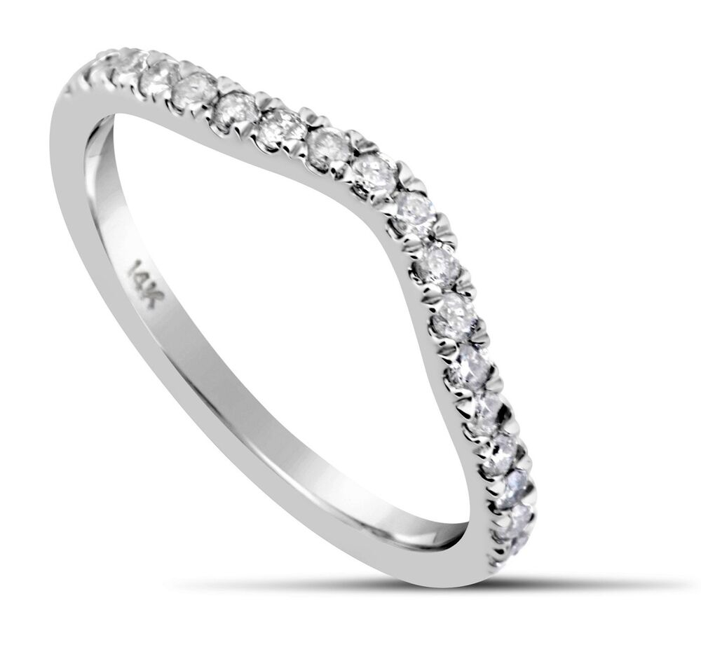 White Gold Bands: Diamond Wedding Ring Band 0.39 Carat CURVED 14K White Gold