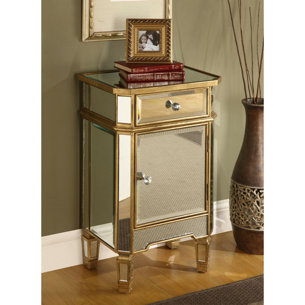 Mirrored Cabinet: Mirrored Glass End Table Nightstand Chest Gold Finish