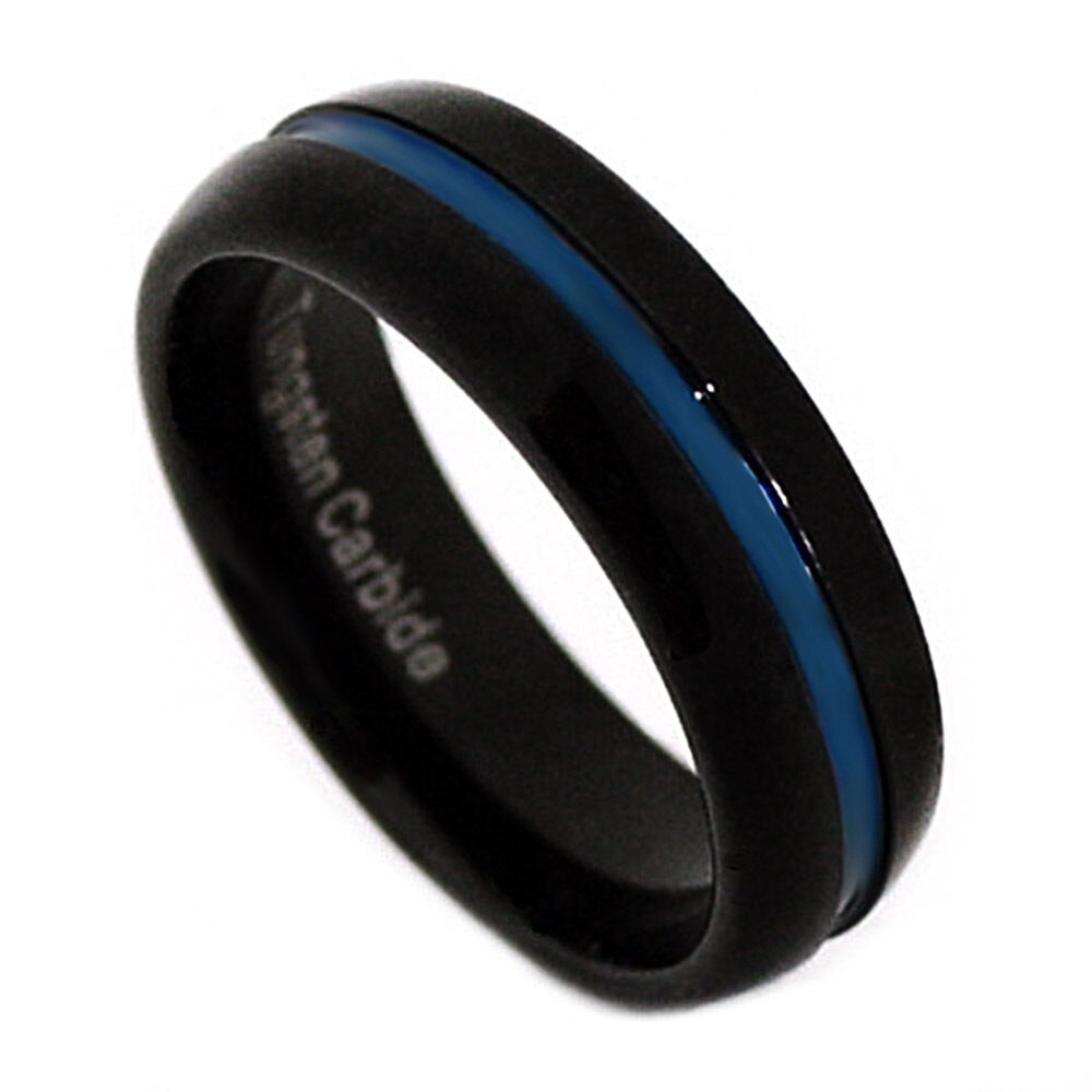 thin blue line ring black blue channel tungsten carbide With blue line wedding rings