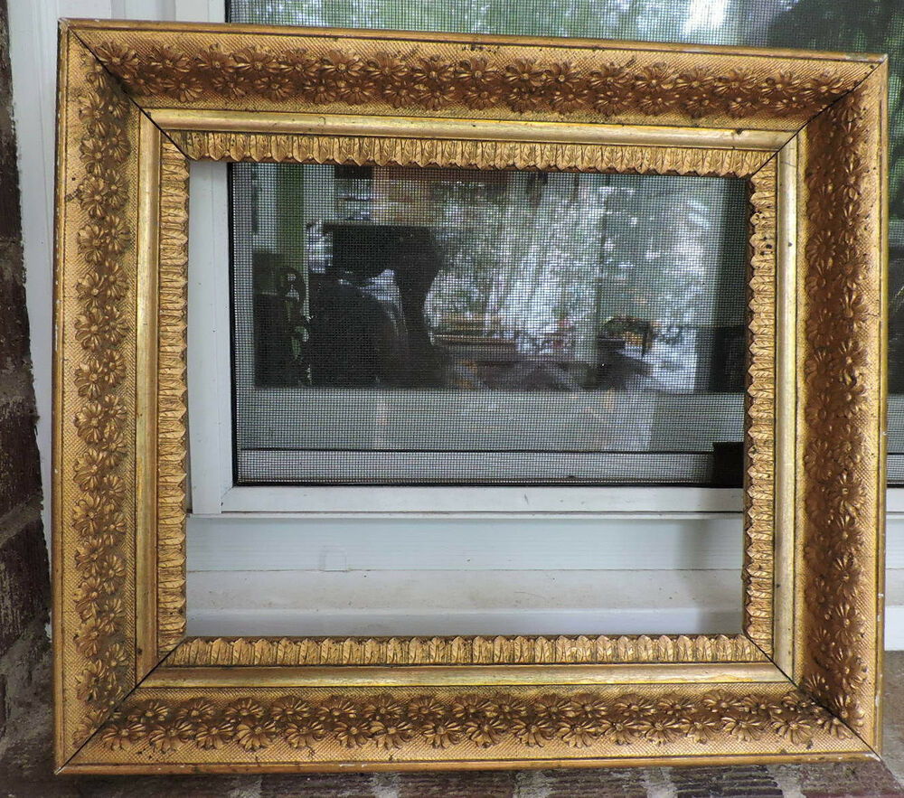 aesthetic victorian gilt gold flower daisy floral picture frame 10 x 12 1890s ebay. Black Bedroom Furniture Sets. Home Design Ideas
