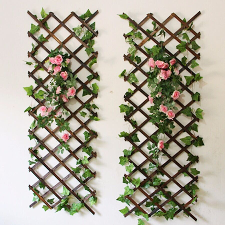 Natural wood wall trellis expanding garden flower plant for Jardin decor 37