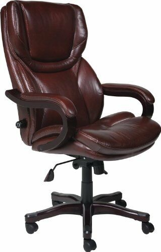 SERTA Executive CHAIR Rich Brown Bonded Leather Big Tall OFFICE CHAIR