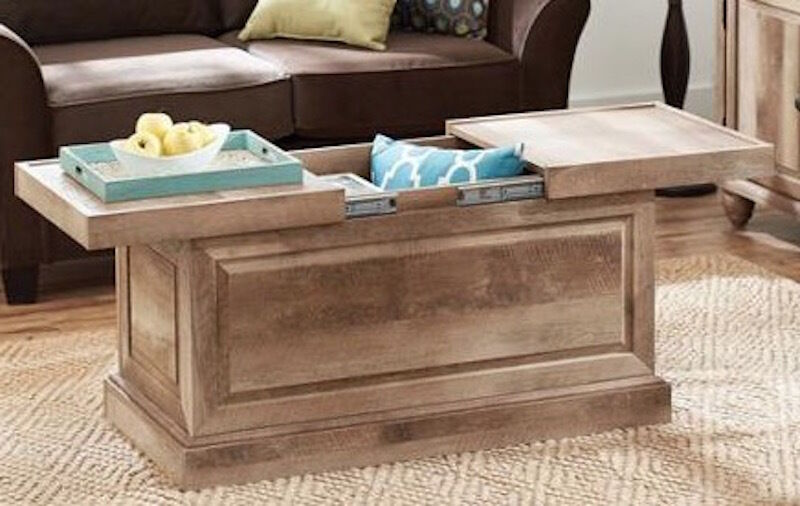 Rustic Wood Coffee Table Storage Trunk Furniture Living