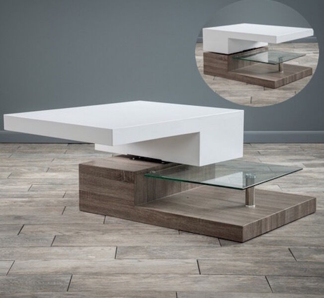 Modern Wood Glass Coffee Table Rectangular Living Room