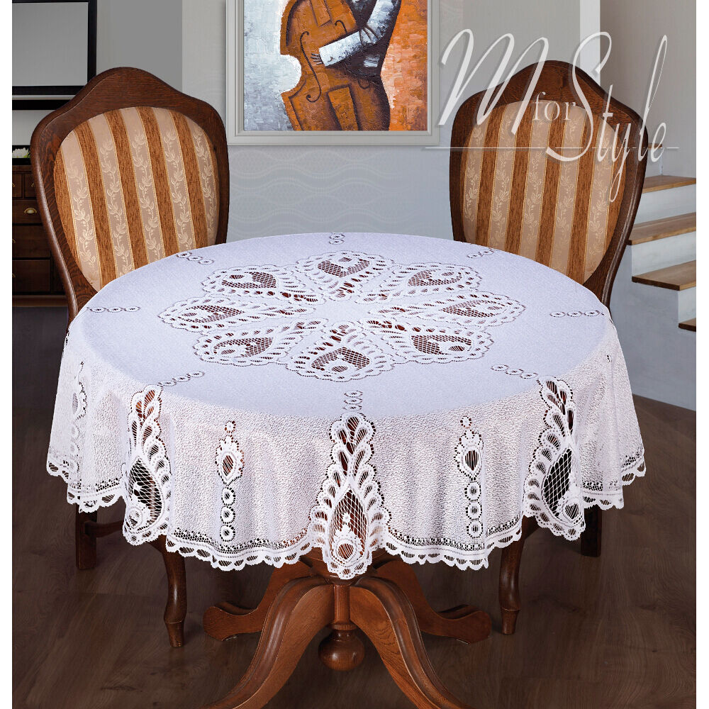 "White Tablecloth Round Lace 59"" 150cm Premium Quality"