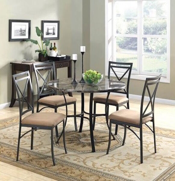 Round Dining Room Set Metal Table Chairs 5Piece Dinette Kitchen Marble Furnit