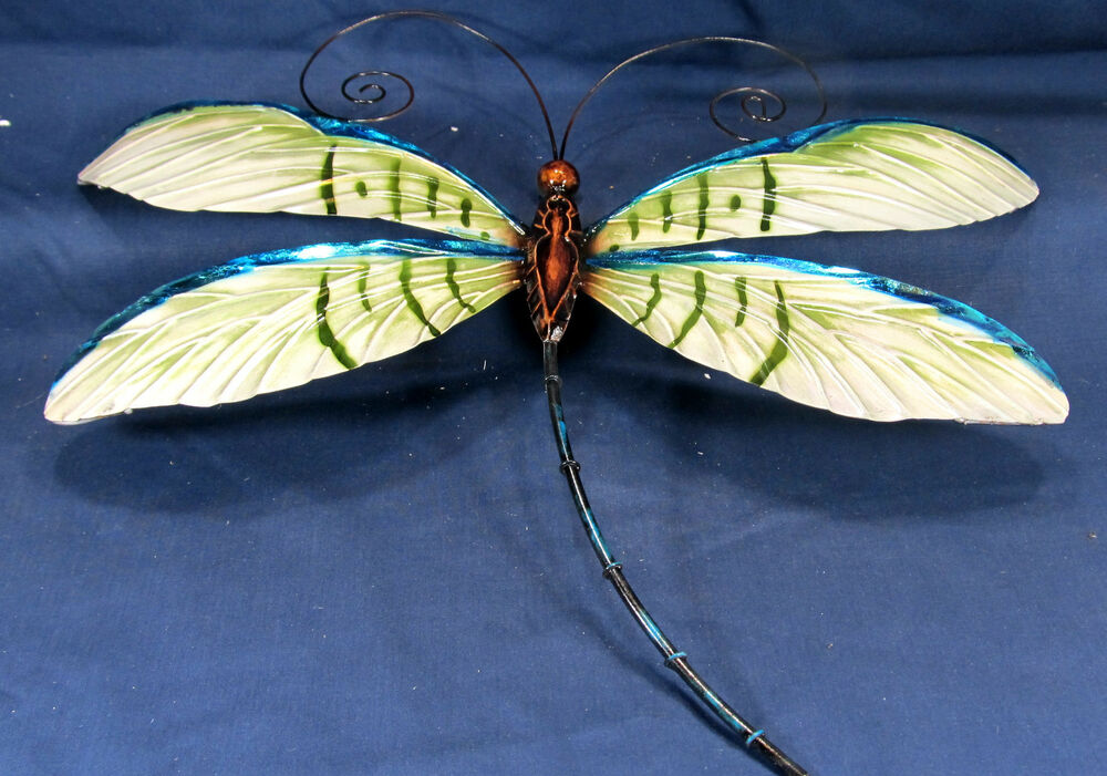 Dragonfly metal wall art home decor ebay for Dragonfly mural
