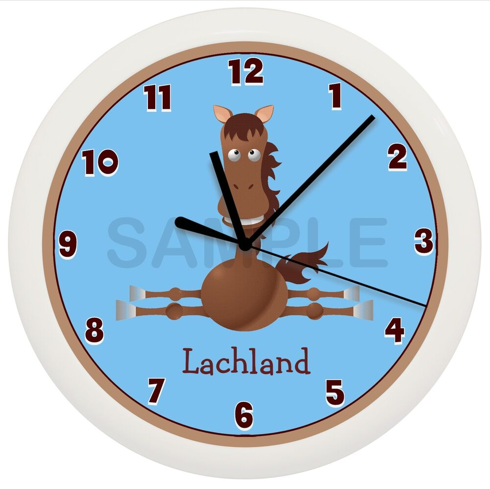 Details About Blue Horse Nursery Wall Clock Personalized Boys Room Gift Pony Shower Decor Farm