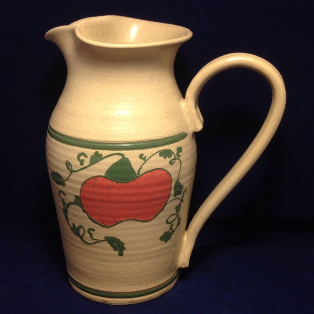 Olde Cape Cod Stoneware Hand Painted Water Pitcher Pumpkin ...