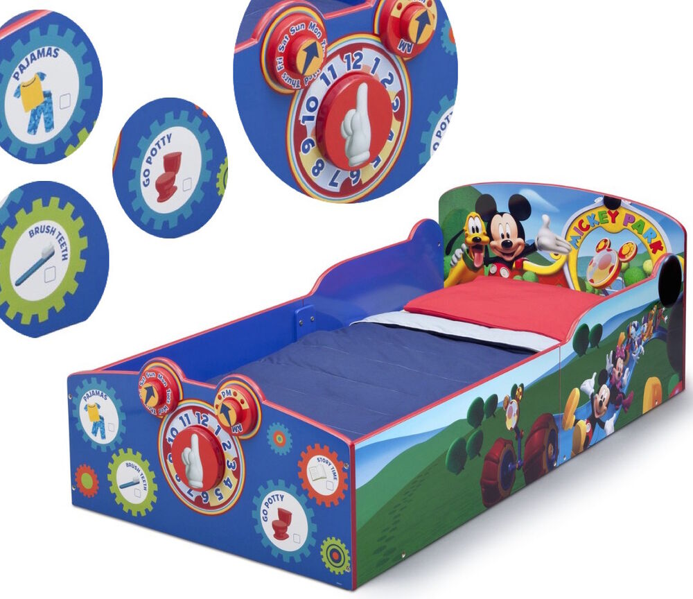 Mickey Mouse Wood Toddler Bed Kids Boys Disney Furniture Bedroom Clock Clubho