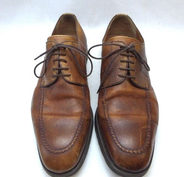 mens magnanni brown textured leather oxford dress shoes