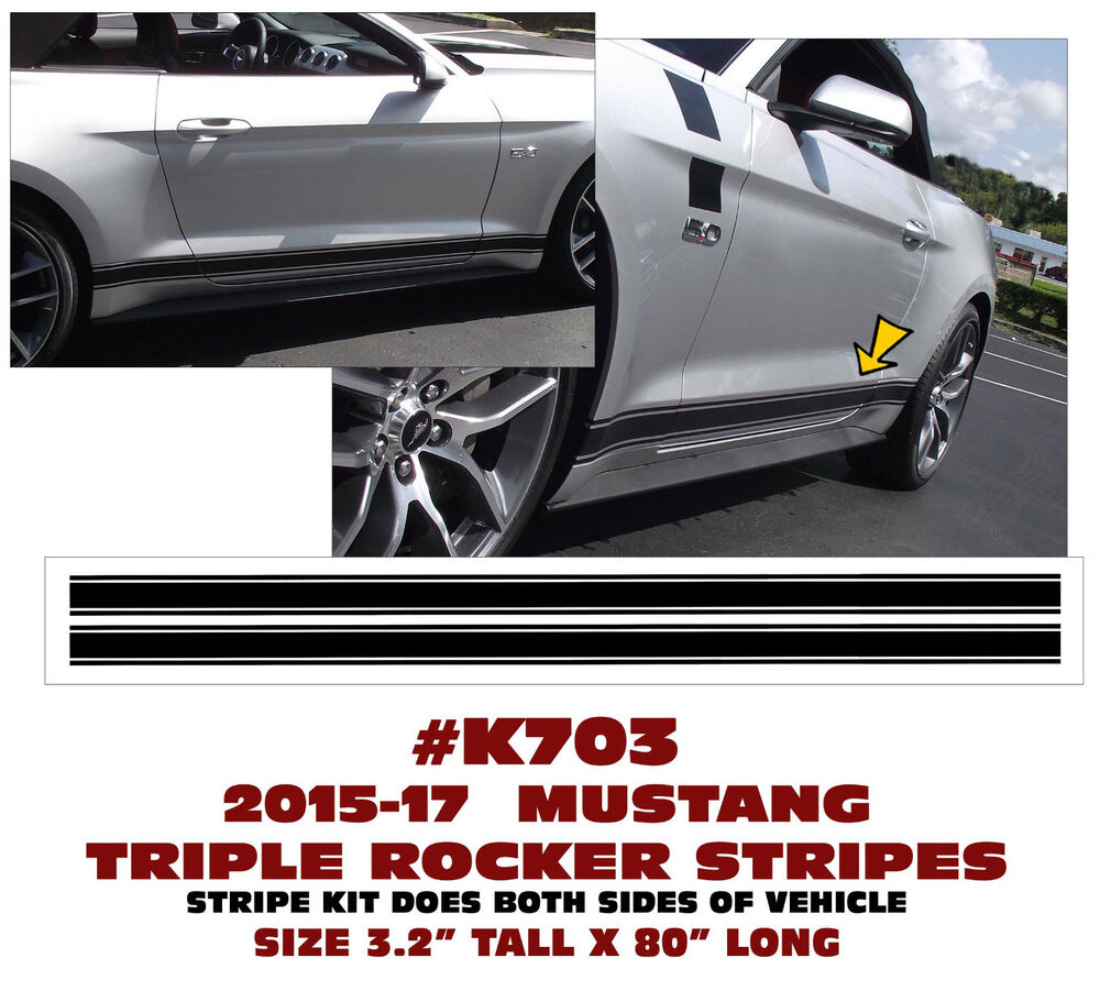 2016 Mustang Hood Scoop >> K703 2015 2016 MUSTANG - TRIPLE LOWER ROCKER SIDE STRIPE DECAL - TRADITIONAL | eBay