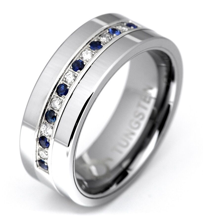 Diamond Sapphire Tungsten Modern Men 39 S Wedding Anniversary Band Ring 8mm