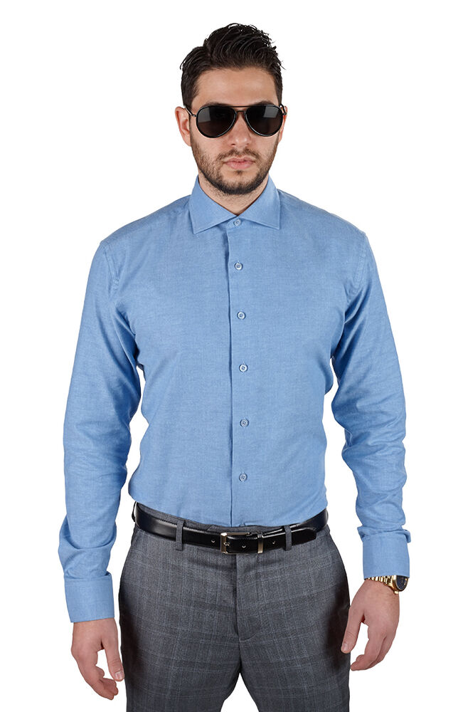 Blue tailored slim fit extra spread collar mens dress Best wrinkle free dress shirts