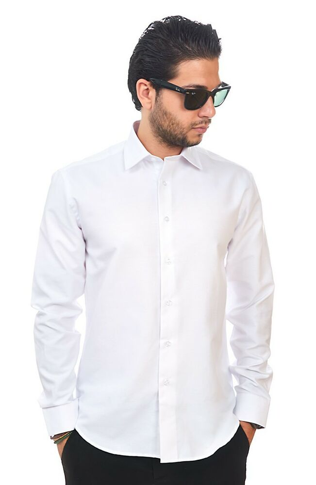 New Mens Dress Shirt Solid White Tailored Slim Fit Wrinkle