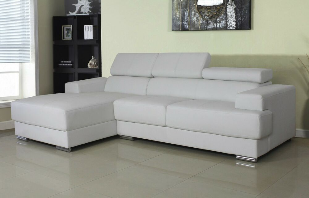 Modern Bonded Leather Sectional Sofa Set Gray And White