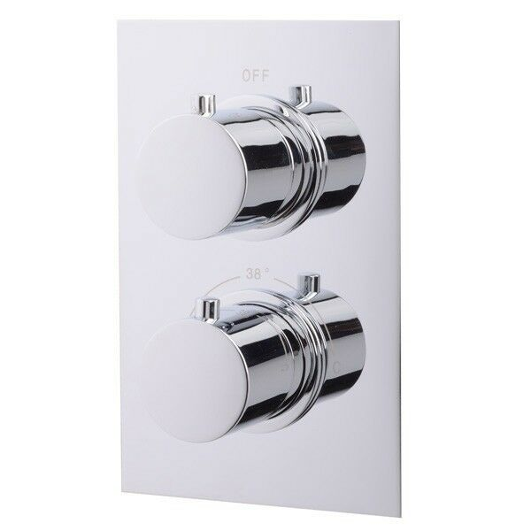 Thermostatic Mixing Valve For Shower Mixer With Diverter: Concealed Thermostatic Shower Valve Round Chrome Dual