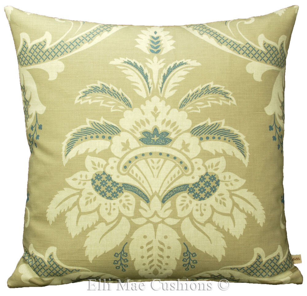 Blendworth fabric cushion cover esplanade blue cream for Designer throws for sofas