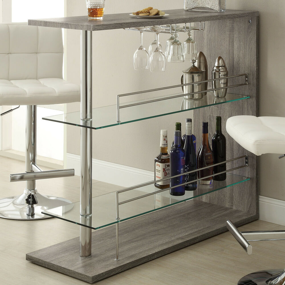 Modern Bar Sets For Home: Modern Unit Bar Home Metal Tampered Glass Wood Furniture