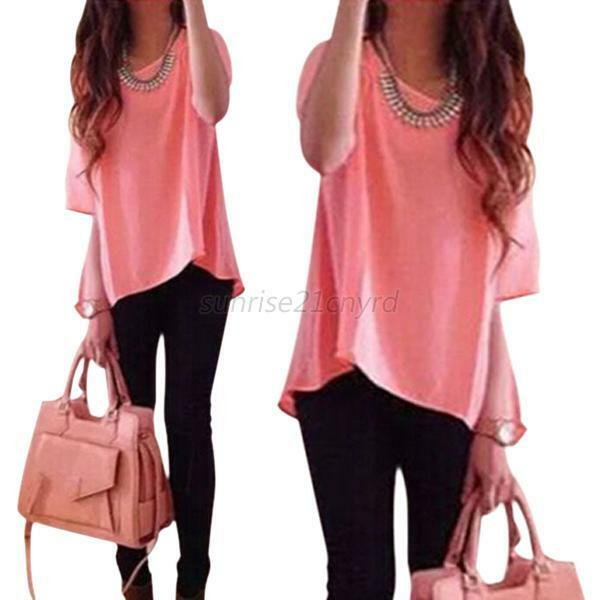 Women's Crew Neck Short Sleeve Loose Blouse Shirts Casual T-Shirts ...