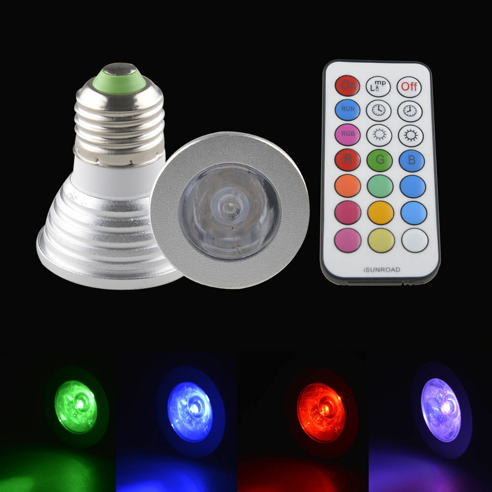 4w e27 gu10 mr16 16color rgb led light bulb lamp spotlight withir remote control ebay. Black Bedroom Furniture Sets. Home Design Ideas