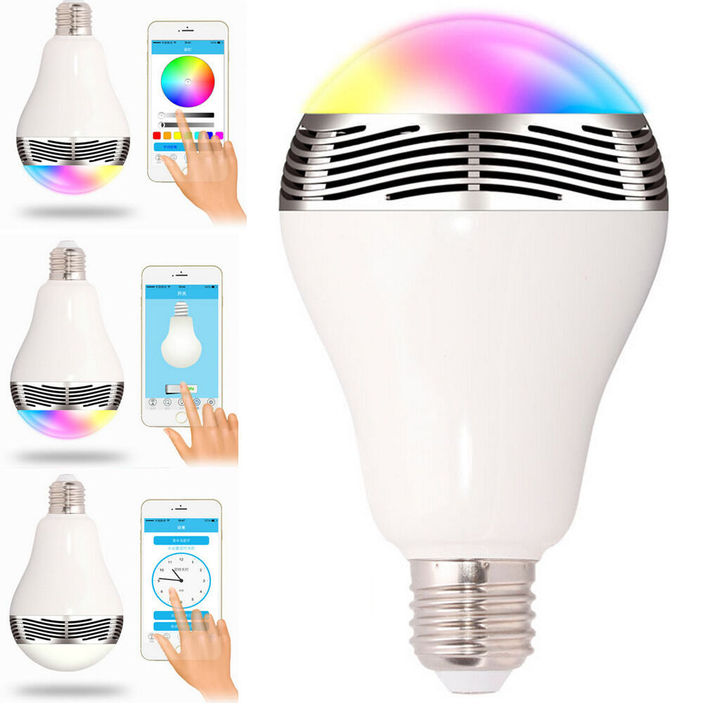e27 bluetooth control smart music audio speaker led rgb color bulb light lamps ebay. Black Bedroom Furniture Sets. Home Design Ideas