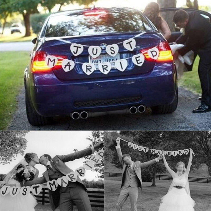 Just married garland wedding banner car bunting western for Automobile decoration accessories