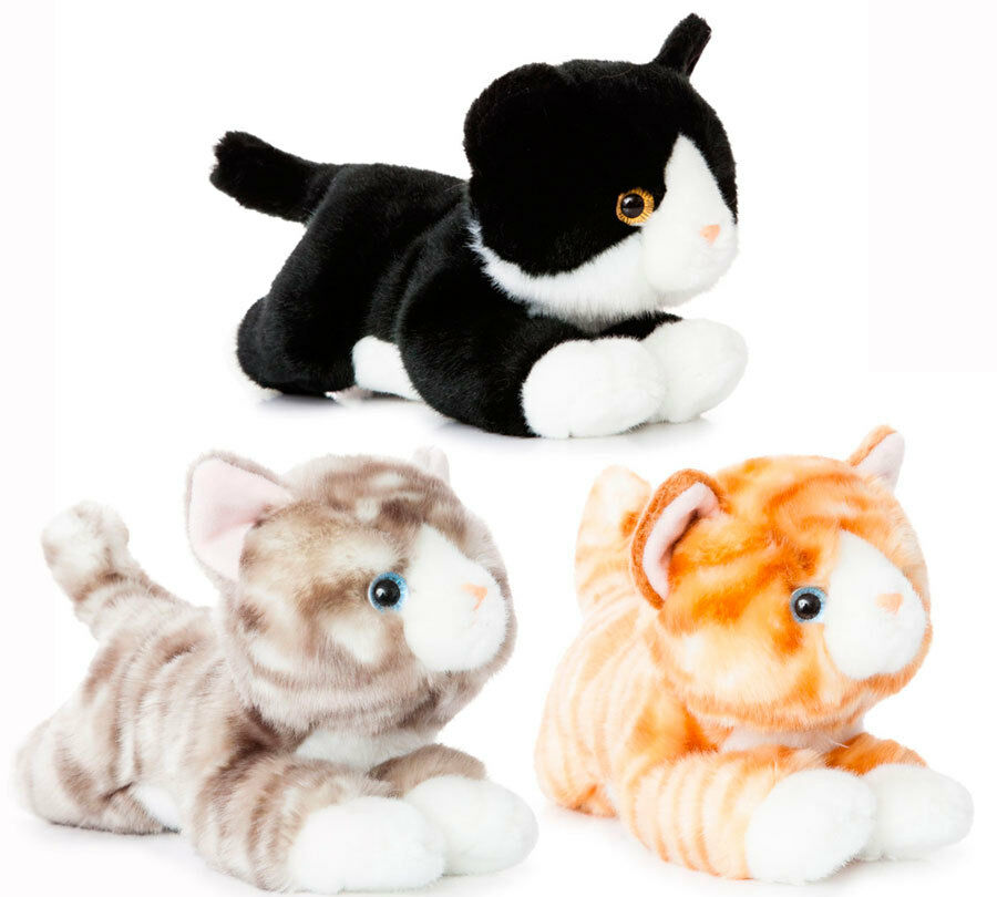 aurora luv to cuddle pl sch katze stoff kuscheltier mieze schwarz wei tabby ebay. Black Bedroom Furniture Sets. Home Design Ideas