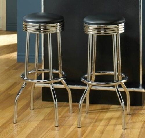 Retro Bar Stools Metal Fountain Vintage Chrome Pub Seating