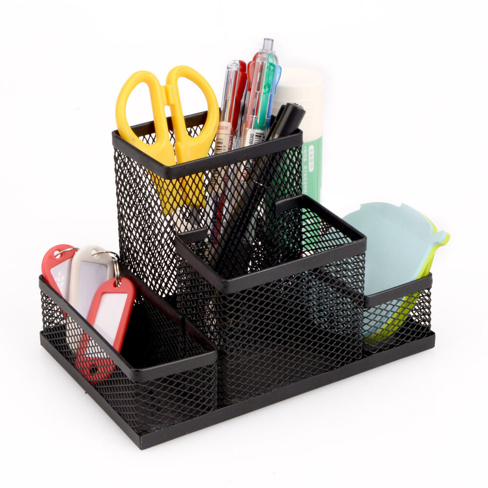 Black Metal Mesh Office Desktop Organizer Pen Pencil Box