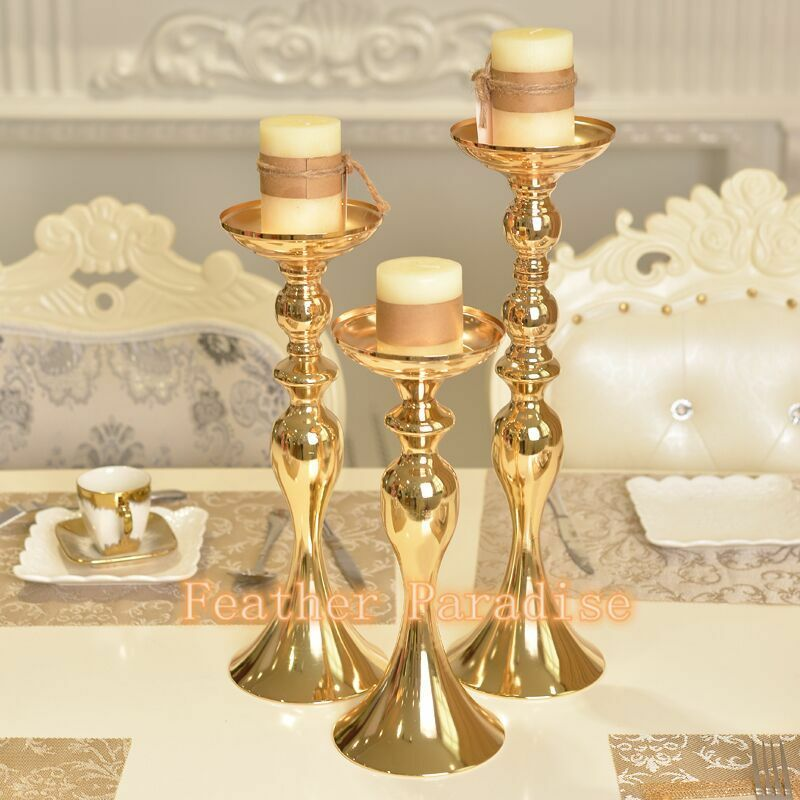 Gold Wedding Centerpiece Decorations: 1 PC Wedding Flower Ball Feather Ball Stand Candle Holder