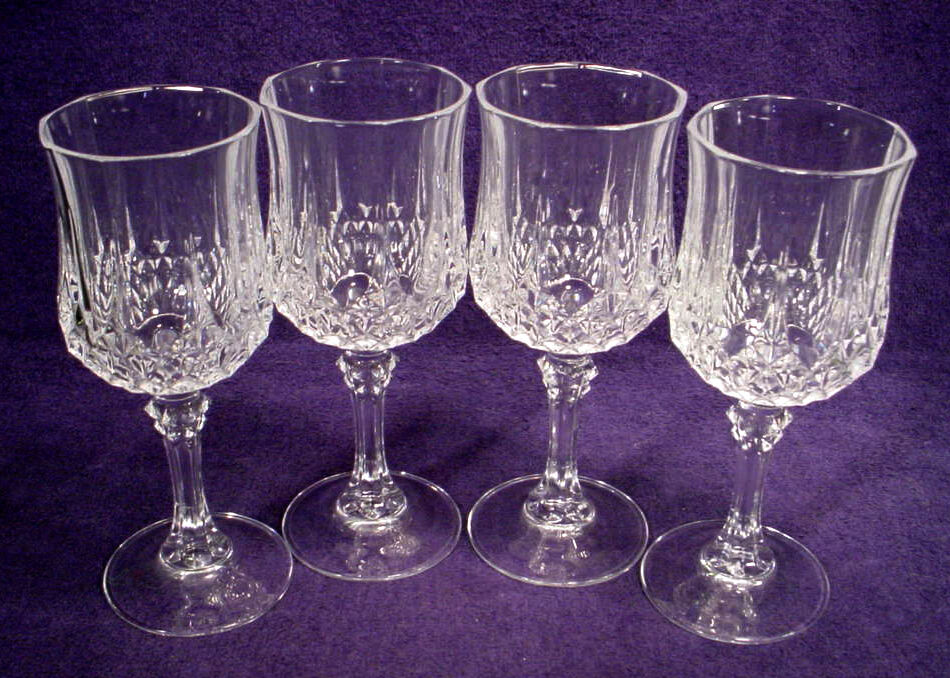 4 mint cristal d 39 arques longchamp lead crystal wine 6 1 2 water goblets lot set ebay. Black Bedroom Furniture Sets. Home Design Ideas