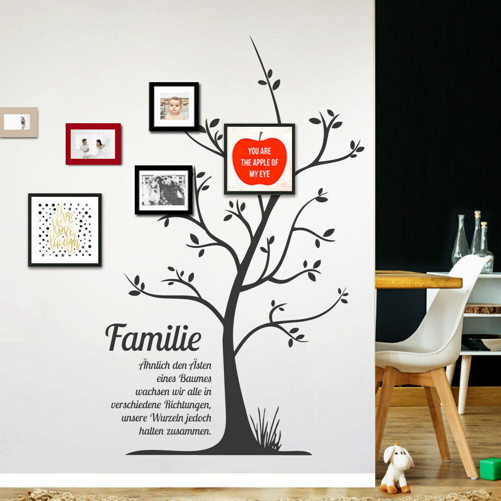 wandtattoo wandsticker wandaufkleber flur familie stammbaum spruch baum w1251 ebay. Black Bedroom Furniture Sets. Home Design Ideas