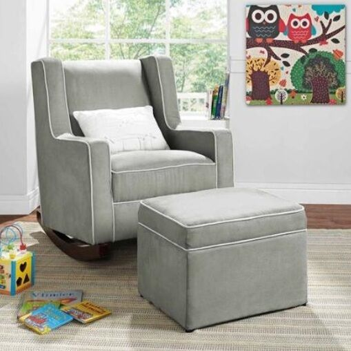 gray rocking chair nursery furniture baby kids relax 10156 | s l1000