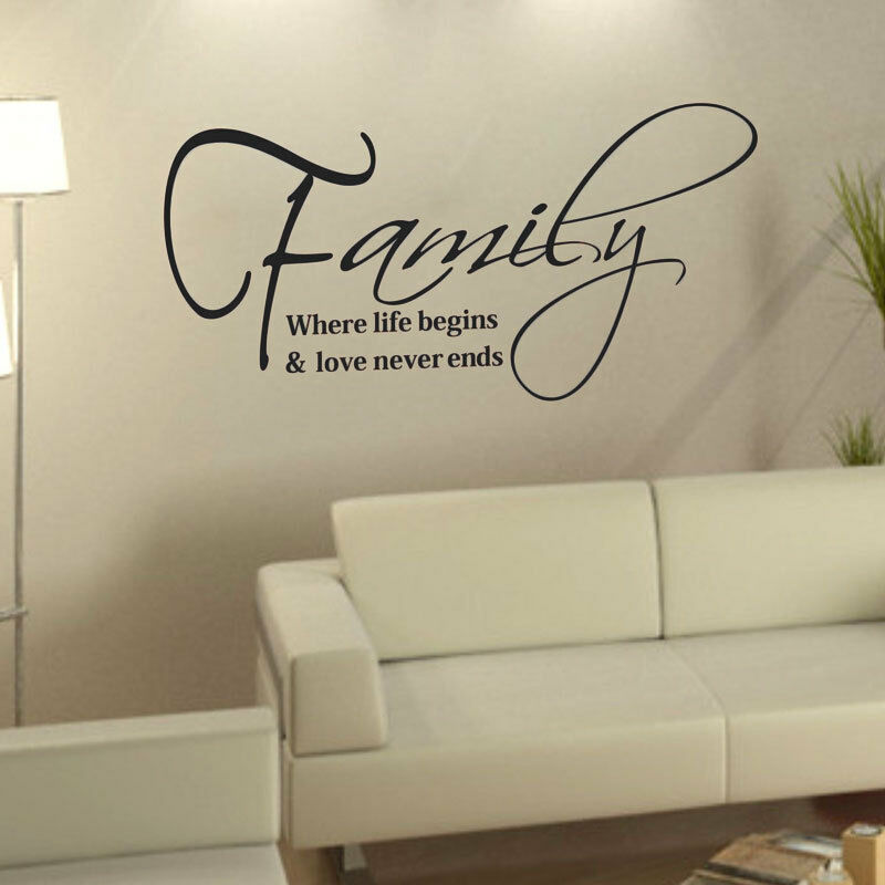Family love quote removable diy art vinyl wall sticker for Home decor quotes on wall