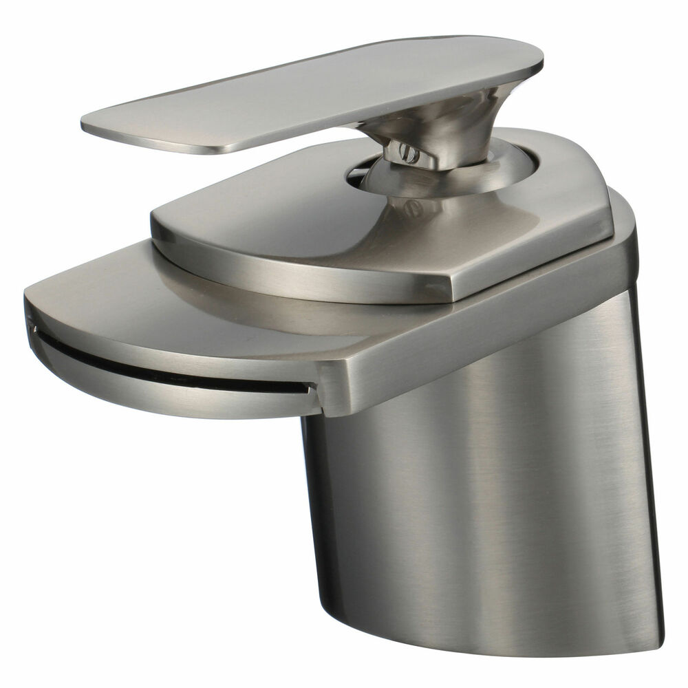 Bathroom Sink Faucet Brushed Nickel Waterfall Centerset One Hole Handle Tap Ebay