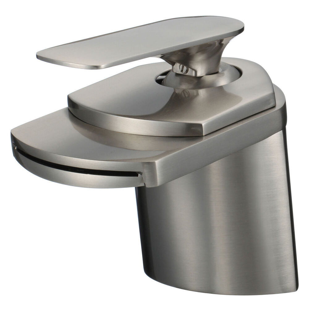 Bathroom Sink Faucet Brushed Nickel Waterfall Centerset One Hole Handle Tap