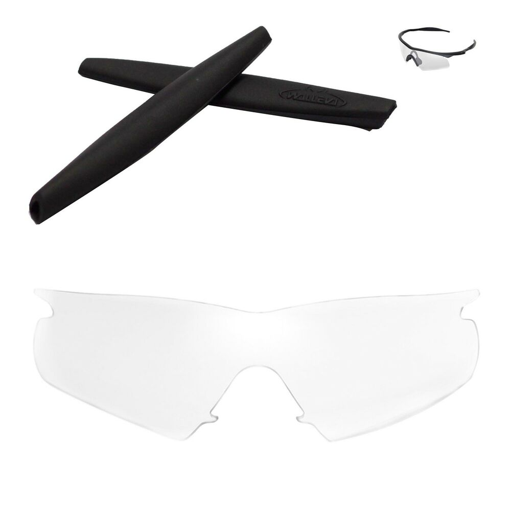 Walleva Clear Replacement Lenses And Black Rubber Kit For