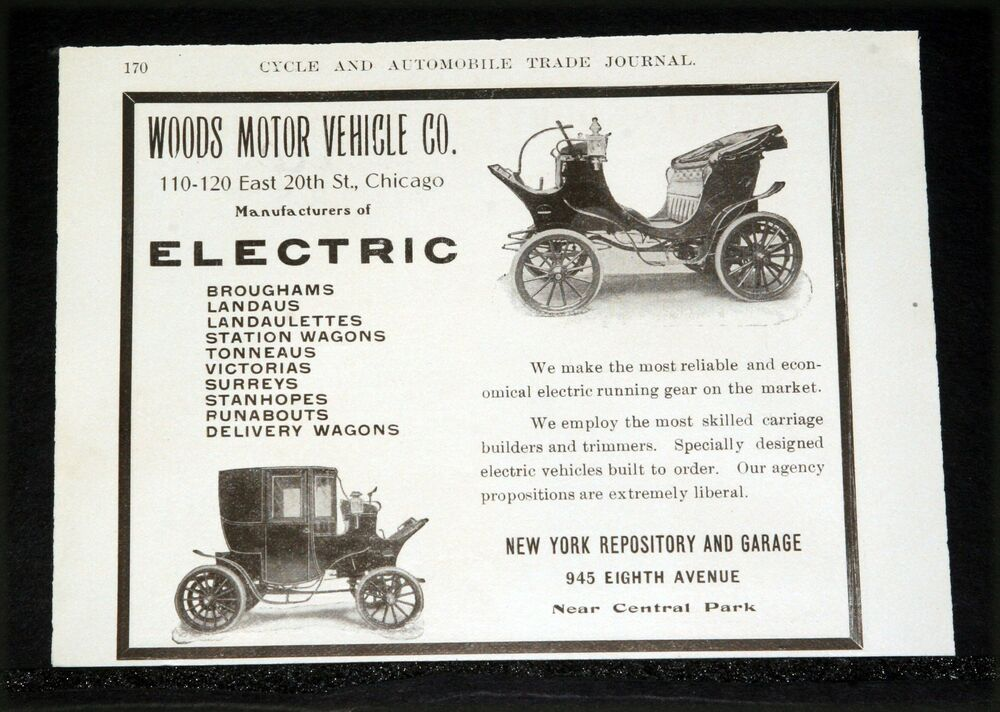 1904 Old Magazine Print Ad Woods Motor Vehicle Reliable