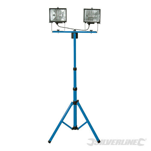 TWIN HEAD 500W TELESCOPIC HALOGEN FLOODLIGHT WORK SITE