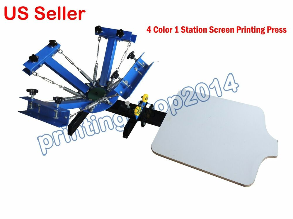 4 Color 1 Station Screen Printing Press Diy T Shirt Processing Machine Ebay