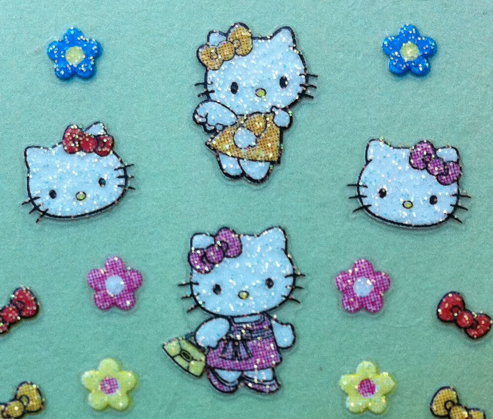 Nail Art 3D Sticker Glitter Decal Hello Kitty Angle Bow