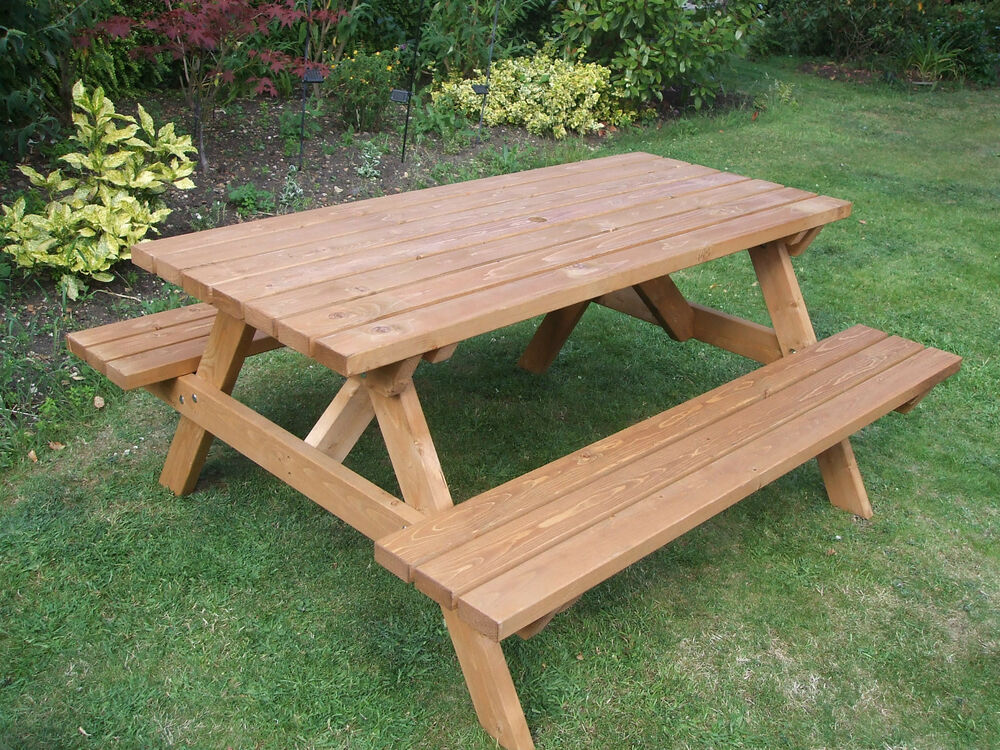 Picnic table heavy duty commercial grade ebay Wooden bench for sale